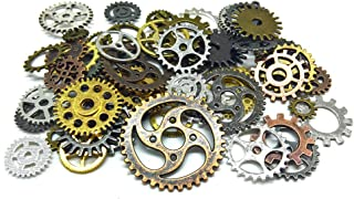Aoyoho 150 Gram Assorted Antique Steampunk Gears Charms Pendant Clock Watch Wheel Gear for Crafting (Mixed Color)