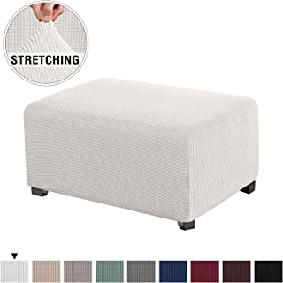 Stretch Spandex Jacquard Rectangle Folding Storage Covers Ottoman Slipcovers High Spandex Small Checks Jacquard Fabric Removable Footstool Protect Footrest Covers (Standard Size, Ivory White)