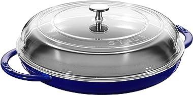 STAUB Cast Iron 12-inch Round Steam Griddle - Dark Blue