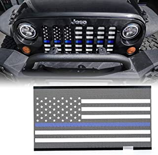 Xprite Front Mesh Grill Insert with Law Enforcement Blue Stripe for 2007-2018 Jeep Wrangler JK Stock Grille