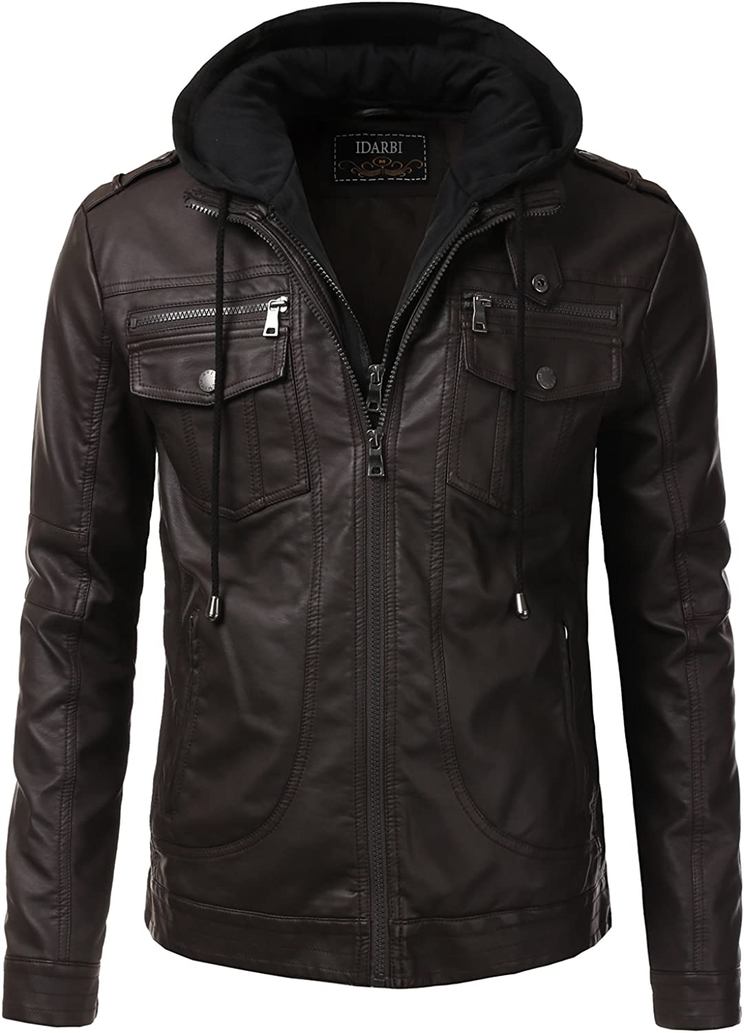 IDARBI Mens Premium Leather Bomber Jacket with Quilted Detail