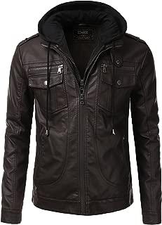 Men's Premium Pu Faux Leather Moto Biker Jacket with Detachable Hood - Unbranded
