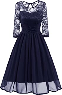 Avril Dress Women's Vintage Floral Lace Prom Dress 3/4 Sleeve A-Line Cocktail Party Swing Dress