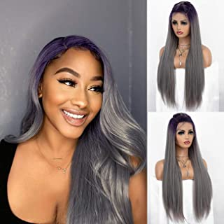 K'ryssma Fashion Ombre Grey Lace Front Wigs with Purple Roots Long Straight Ombre Synthetic Wig with Specially Designed Y ...