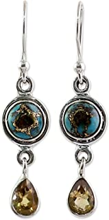 NOVICA Citrine Turquoise .925 Sterling Silver Dangle Earrings, Sunny Droplets'