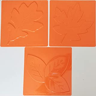 Pack Set of Fall Leaves Themed Plastic Textured Rubbing Plates - Create Art DIY Crafting Drawing Painting