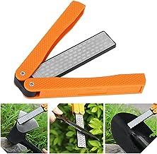 Dubbelsidig vässare, vässare, handhållen dubbelsidig slipsten för köksträdgård utomhus(New orange)
