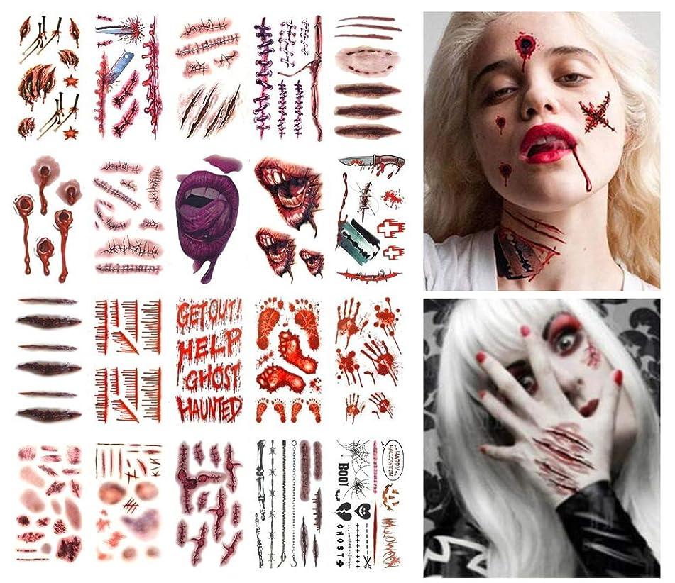 ANGELANGELA 20 Sheets Scary Body Scars Waterproof Temporary Tattoo Bleeding Bloody Wound Scratch Sticker