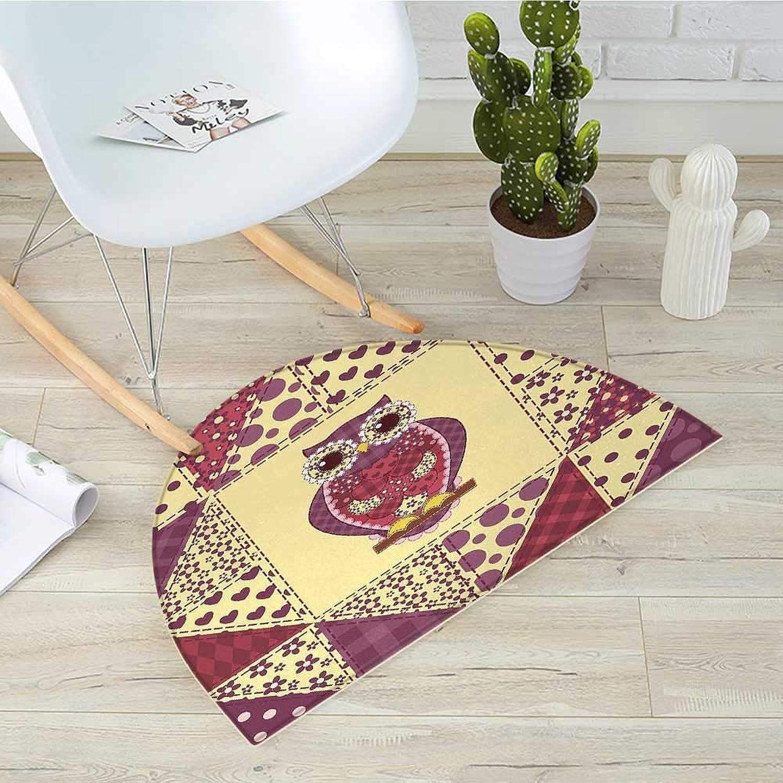 Owl Semicircle Doormat Vintage Inspired Owl Pattern Invisible to Prey Nocturnal Mimicking Predator Halfmoon doormats H 43.3  xD 64.9  Purple Pink Yellow