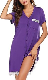 Ekouaer Nightgown Women's Short Sleeve Sleepwear Button Down Nightshirt