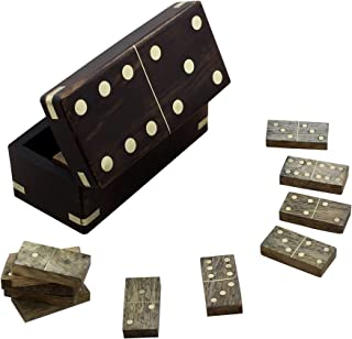 RoyaltyRoute Double 28 Professional Domino Tiles with Spinner in Wooden Box