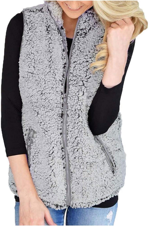 VEKDONE Women Fuzzy Sherpa Fleece Jacket Warm Vest Cozy Sleeveless Cardigan Zipper Waistcoat Outerwear with Pocket