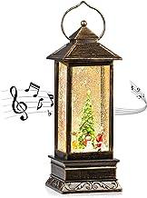 CaiFang Christmas Snow Globe Lantern 6H Timer Musical Lanterns Lighted Water Glittering Santa Lantern Kids Toy Snow Globes...