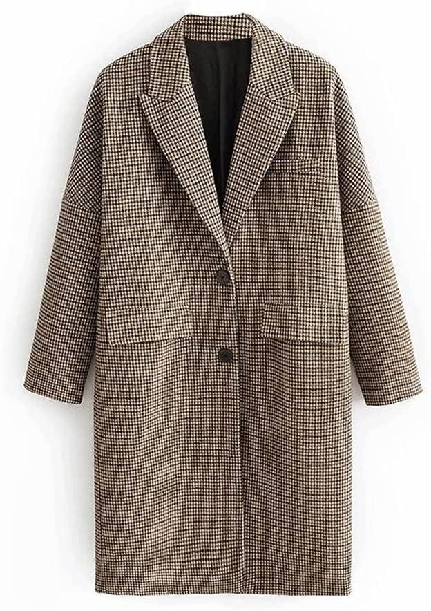 DJASM fzwt Winter Plaid Long Coats Women Single Breasted Casual Jackets for Ladies Vintage Coat (Color : Plaid, Size : Small Code)