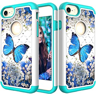 iPhone 8/7/6/6s Case, Ankoe Glitter 3D Diamond Studded Rhinestone Painted Series Dual Layer Shockproof Hybrid Defender Case for Apple iPhone 8, 7, 6, 6s (Blue Butterfly)