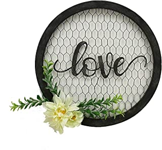Parisloft Love Round Metal Wall Hanging Art Sign Word Love on Chicken Wire Round Framed and with Fabric Flower 12.2 x 12.2 x 1.4 Inches Black (Love)
