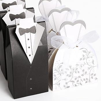 CLE DE TOUS@ 100pcs Cajas de boda para bombones caramelos chocolate Con forma Novio Novia Color Negro con Blanco: Amazon.es: Hogar