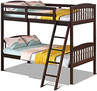 Costzon Twin Over Twin Bunk Beds, Convertible Into Two Individual Solid Rubberwood Beds, Children Twin Sleeping Bedroom Furniture W/Ladder and Safety Rail for Kids Boys & Girl (Espresso)