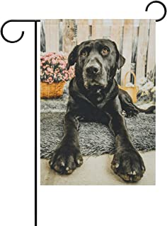 ALAZA Cute Portrait of Black Lab Dog Polyester Garden Flag House Banner 28 x 40 inch, Two Sided Welcome Yard Decoration Flag for Wedding Party Home Decor