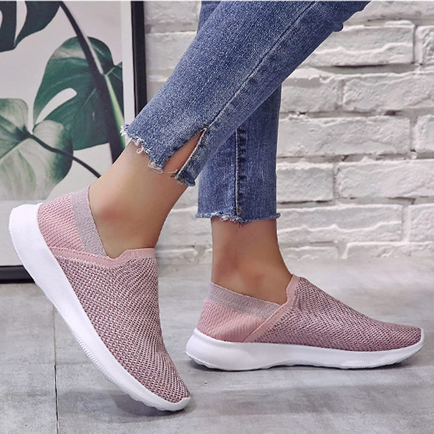 Niceast Women's Sneakers Breathable Mesh Walking Shoes Slip on Sock Sneakers Fashion Casual Outdoor Sports Running Shoes