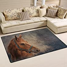 Yochoice Non-slip Area Rugs Home Decor, Vintage Retro Red Horse Portrait Oil Painting Floor Mat Living Room Bedroom Carpets Doormats 60 x 39 inches