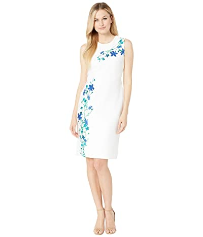 Calvin Klein Flower Print Sheath Dress (Cream/Atlantis Multi) Women
