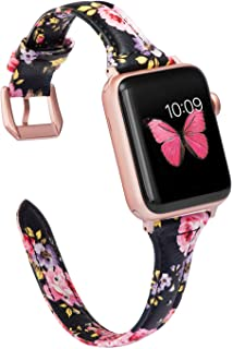 Wearlizer Thin Leather Black Pink Floral Compatible with Apple Watch Bands' 42mm 44mm for iWatch Womens Top Grain Leather Slim Strap, Female Flower Wristband (Rose Gold Clasp) Series 5 4 3 2 1 Sport