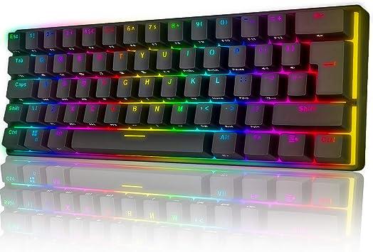 UrChoiceLtd UK61 60% Teclado mecánico para Juegos Tipo C Cableado 61 Teclas Retroiluminación LED Teclado Impermeable USB Retroiluminación RGB Teclas ...
