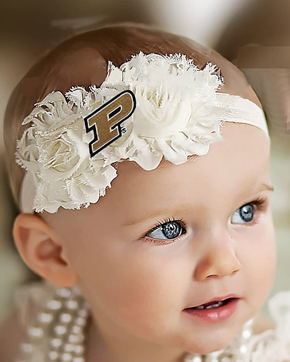 Future Tailgater Purdue Boilermakers Baby/Toddler Shabby Flower Hair Bow Headband