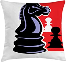 Ambesonne Board Game Throw Pillow Cushion Cover, Chess Themed Pieces Design Pawn Silhouette and Knight, Decorative Square Accent Pillow Case, 40