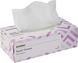 Amazon Brand - Solimo 2 Ply Facial Tissues Carton Box - 100 Pulls