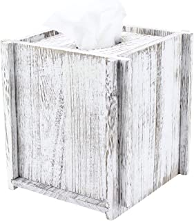 Comtelek Tissue Box Cover Square Tissue Holder Wooden Rustic Torched Bathroom Facial Tissue Dispenser with Slide-Out Bottom Panel White Novelty Splicing Napkin Holder (Square)
