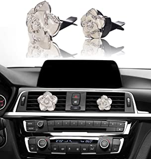 Mini-Factory Car Bling Decoration, Bling Car Interior Accessories Air Vent Sparkle Rhinestone Diamond Clip - White Flowers (1 Pair)