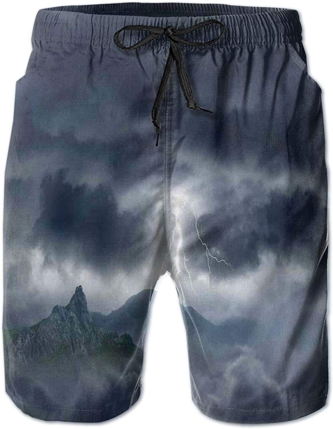 Flash in Dark Stormy Sky Over Mountains Like Fictional Fantastic Powerful Nature Image Mens Swim Shorts Casual Workout Short Pants Drawstring Beach Shorts,L