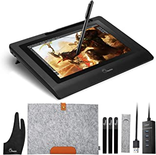 Parblo 10.1 Inches Coast10 Graphics Drawing Tablet LCD Monitor with Cordless Battery-Free Pen, Wool Liner Bag