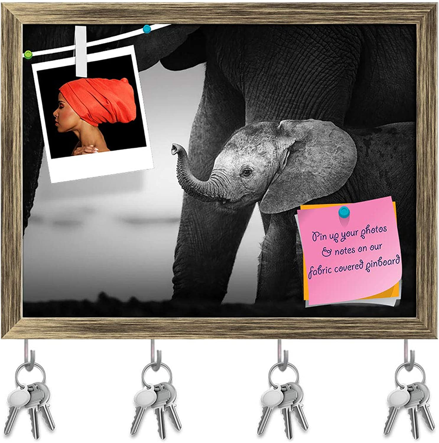 Artzfolio Baby Elephant Next to Cow Key Holder Hooks   Notice Pin Board   Antique golden Frame 15.7 X 12Inch