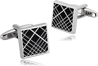 AMDXD Cufflinks for Men Silver Black Square Shirt Cufflinks Cuff Links Mens Stainless 1.4x1.4CM