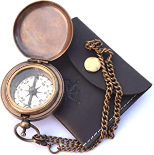 Handmade Brass Push Open Compass On Chain with Leather Case, Pocket Compass, Gift Compass