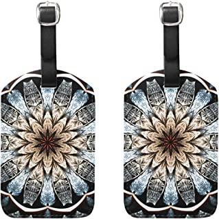 MASSIKOA Dark Glittering Fractal Mandala Cruise Luggage Tags Suitcase Labels Bag,2 Pack