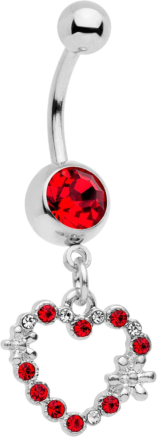 Body Candy 316L Stainless Steel Navel Ring Piercing Valentine Heart Dangle Belly Button Ring