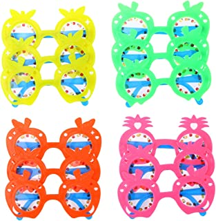 LUOEM Kids Pineapple Eyeglasses Party Sunglasses Favors Hawaii Fruit Eye Glasses for Hawaii Beach Luau Party Decoration ,Pack of 12 (Random Color)