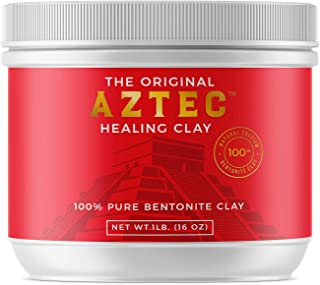 Aztec Healing Clay - 1 LB Pure Sodium Bentonite Powder - Natural Face Mask for Deep Pore Cleansing & Skin Beatification. Perfect for Skin Issue, Blackheads, Acne, Hair Hydration, Cleansing & Bath