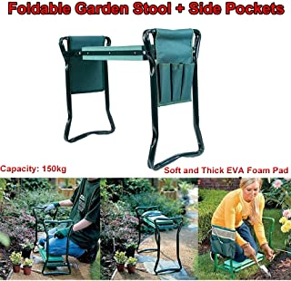 Garden Kneeler Stool Seat and Foam Pad Bench 2 in 1 Portable Folding Gardener Knee Protector Cushion Mat Foldable Outdoor ...