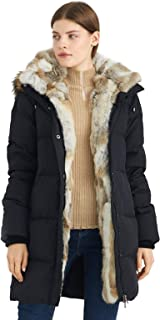 Women's Down Coat with Real Raccoon Fur Hooded Parka Jacket