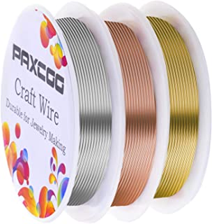 Paxcoo 3 Pack Jewelry Wire Craft Wire 18 Gauge Tarnish Resistant Jewelry Beading Wire for Jewelry Making Supplies and Crafting (Silver, Gold and Rose Gold)