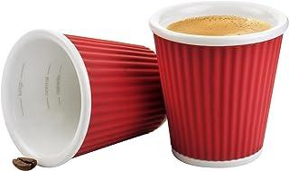 Les Artistes 3 fl.oz Corrugated Cups - 1807 C, Set of 2, Red, A-0624