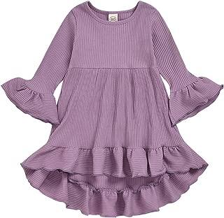 Toddler Baby Girl Dress Flare Long Sleeve Solid Color Irregular Sundress Party Princess Dress
