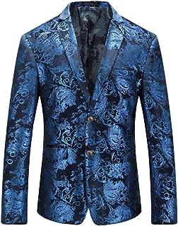 HZCX FASHION Men's Velvet Printed Slim Fit Wedding Party Dress Blazer