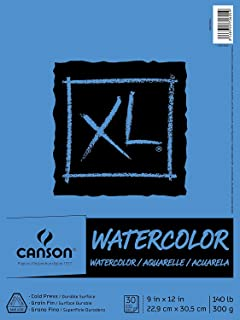 Canson XL Series Watercolor Textured Paper Pad for Paint, Pencil, Ink, Charcoal, Pastel, and Acrylic, Fold Over, 140 Poun...