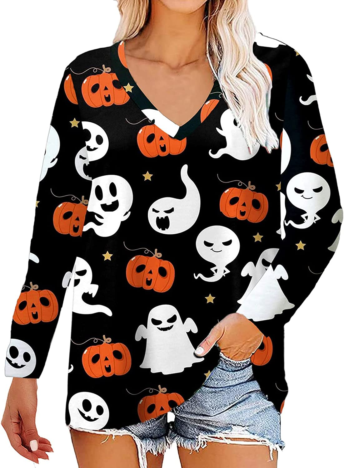 Jacksonville Mall Women's Halloween Shirts Funny Pumpkin Printed Pullo Animer and price revision Long Sleeve